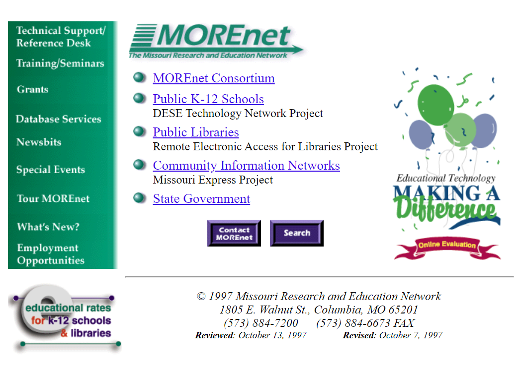 Open MOREnet website 1997